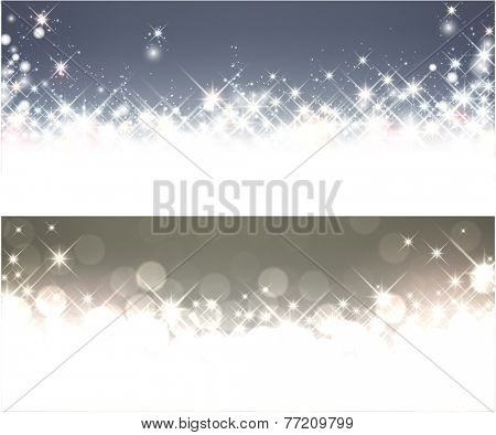 Shiny starry christmas banners. Vector winter Illustration.