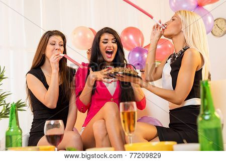 Cheerful Girls On Birthday Party
