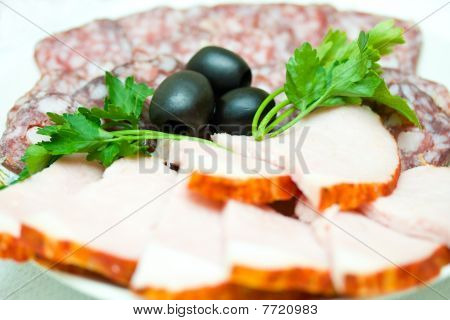 Set Of Sausage  And Olives