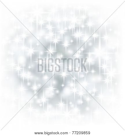 Silver starry christmas background. Bright bokeh. Vector illustration.