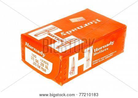 Hayward, CA - November 26, 2014: Box of 100 Hornady Brand .375 caliber Bullets for Reloading ammunition