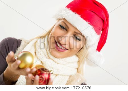 Christmas Girl With Christmas Decoration