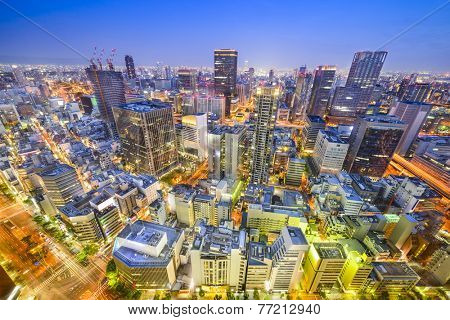 Osaka, Japan cityscape aerial view in Umeda District.