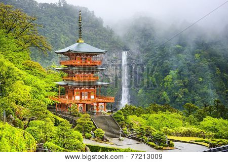 Nachi, Japan at the pagoda of Seigantoji and Nachi no Taki waterfall.