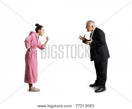angry woman in dressing gown showing fist and screaming at senior man. isolated on white background