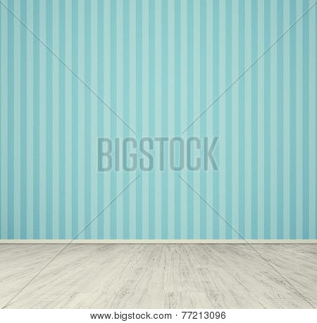 empty room with blue wallpaper and white laminated flooring board