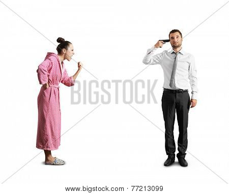 screaming woman and stressed man with gun. isolated on white background