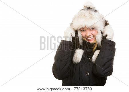 Winter Vacation. Cheerful Girl In Warm Clothes.