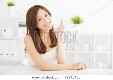 Young Attractive Woman Drinking Clean Water