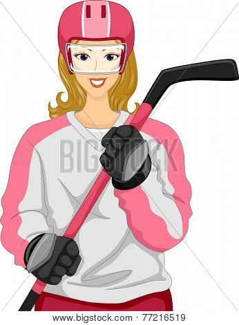 Illustration Featuring a Female Ice Hockey Player Holding an Ice Hockey Stick