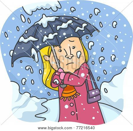 Illustration Featuring a Woman With a Frail Umbrella Braving the Heavy Snowfall