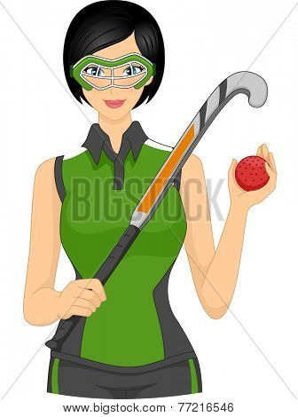 Illustration Featuring a Female Field Hockey Player Holding a Puck and Hockey Stick