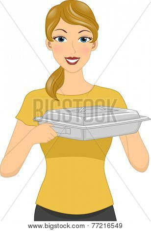 Illustration Featuring a Homely Looking Woman Carrying a Food Warmer