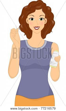 Illustration Featuring a Woman Holding a Needle and a Spool of Thread