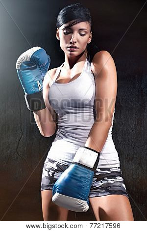Beautiful Brunette Lady Boxing