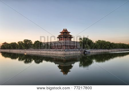 moat and watchtower of imperial palace in Beijing, china