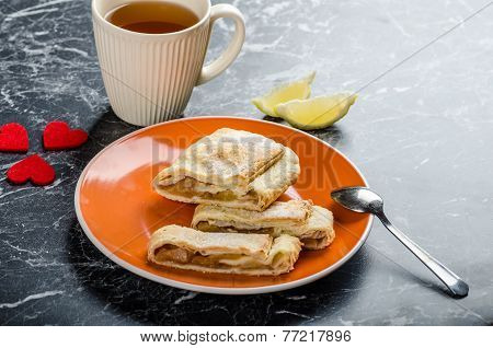 Homemade Apple Pie With Black Tea