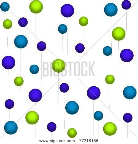 Green-Blue-Teal Balloons on White