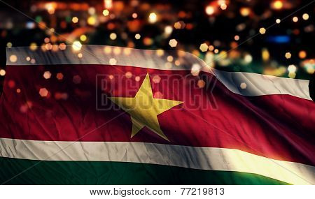 Suriname National Flag Light Night Bokeh Abstract Background