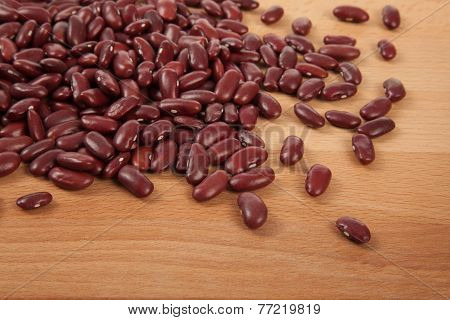 Red Kidney Beans On Wood Table