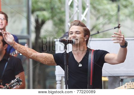NEW YORK-Aug 22: Country music singer Hunter Hayes performs in concert at NBC's 'Today Show' at Rockefeller Plaza on August 22, 2014 in New York City.