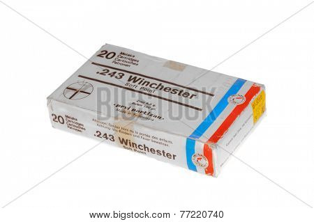 Hayward, CA - November 26, 2014: box of 20 cartridges of Yugoslavian made .243 Winchester soft point