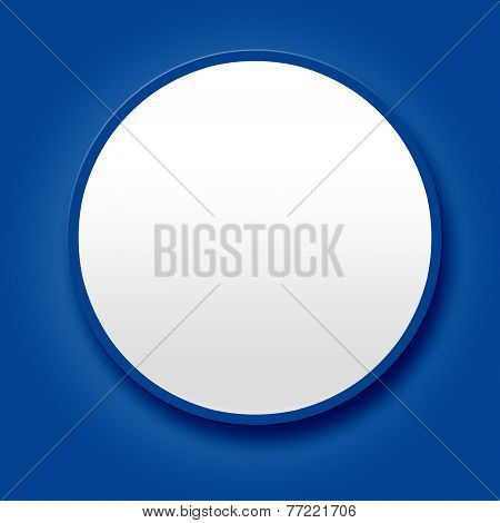 Big White Blank Button On Blue