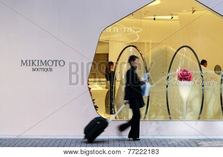 Tokyo, Japan - November 26, 2013: People Shopping At Modern Building In Ginza Area