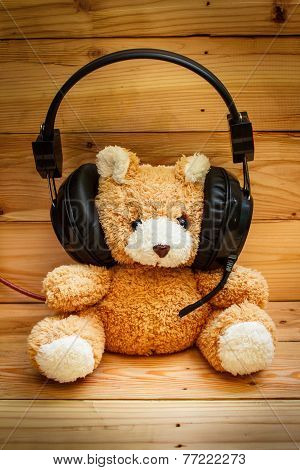 Teddy Bear With Headphones.