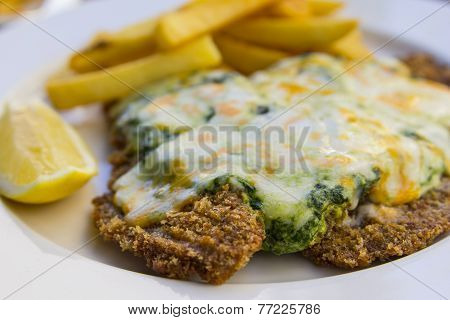 escalope in spinach and cheese