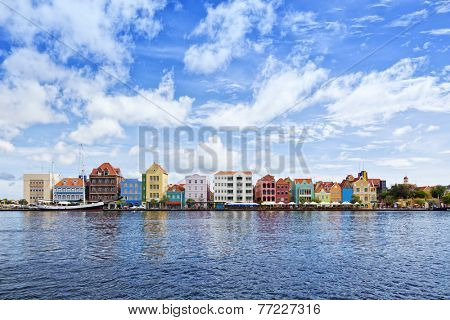 Historic houses with colorful facades at waterfront of Willemstad, Curacao