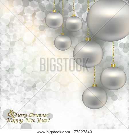 Christmas Silver Balls In Sequin On Abstract Background