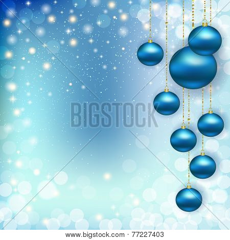 Christmas Winter Abstract Background With Blue Balls