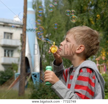 boy soap bubbles