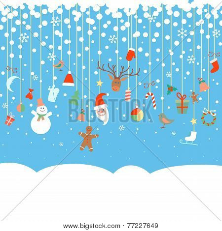 Blue snowy background with Christmas garland