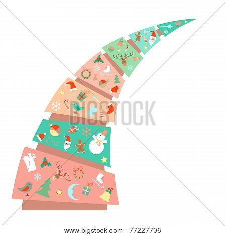 New Year Christmas fir tree with toys decorations