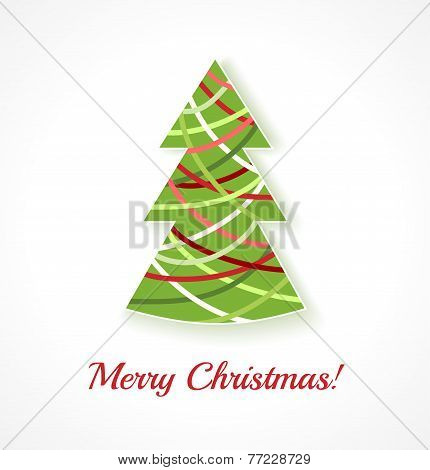 Abstract Christmas Tree On White Background.