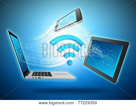 Computing devices connected to the network by wi-fi.