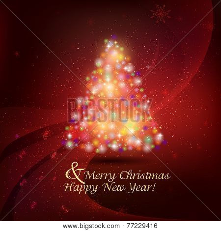Abstract Christmas background with snowflakes and Christmas tree