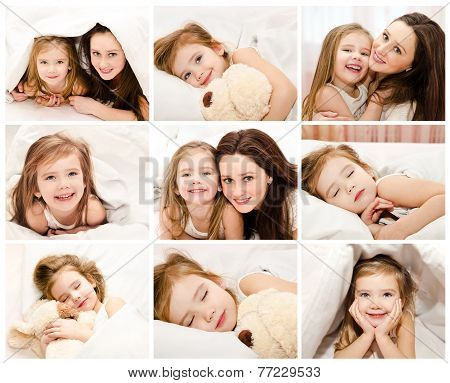 Collection Of Photos Little Girl In The Bed And Her Mother