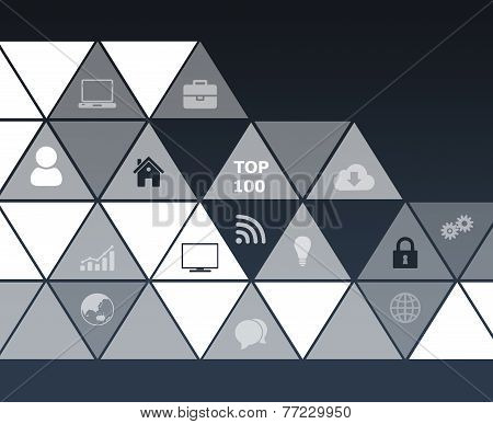 computer icons in a triangle on dark background.