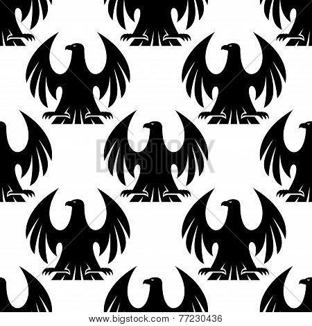 Black eagle seamless pattern