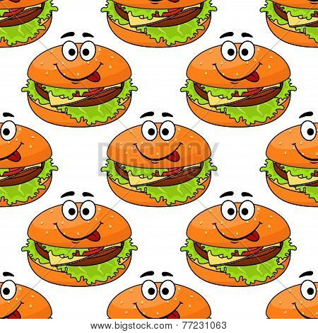Cartoon cheeseburger seamless pattern