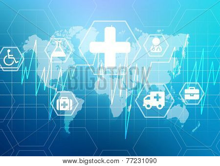 Medical background with a heart and an icon of medicine on the world map.