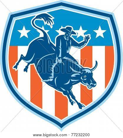 Rodeo Cowboy Bull Riding Flag Shield Retro