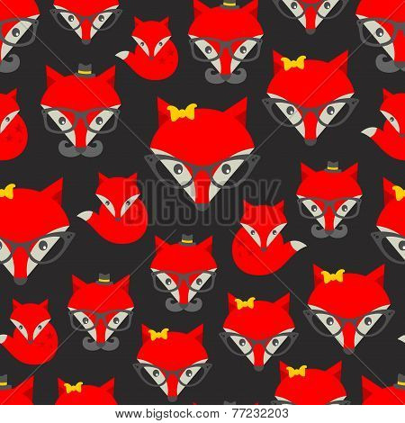 Seamless pattern with hipster fox.