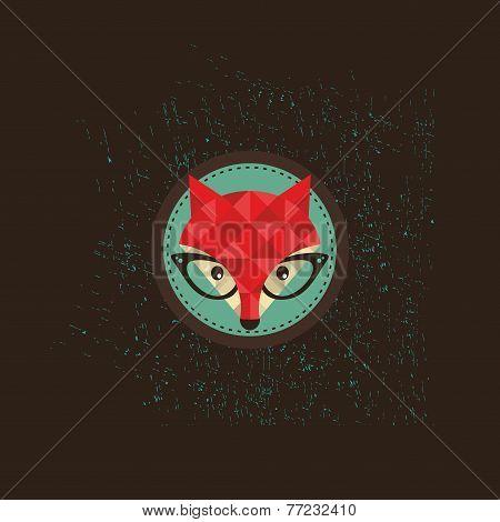 Hipster fox emblem.