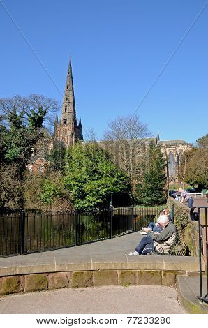 Cathedral and pool, Lichfield.