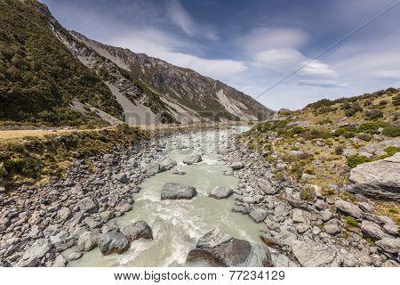 Hooker River In Aoraki National Park New Zealand