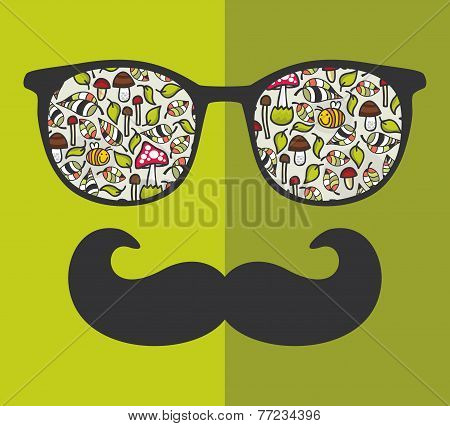 Retro sunglasses with reflection for hipster.